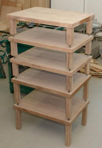 Audio component shelves in Walnut before polishing