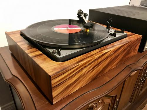 Duel turntable re-veneered in Koa